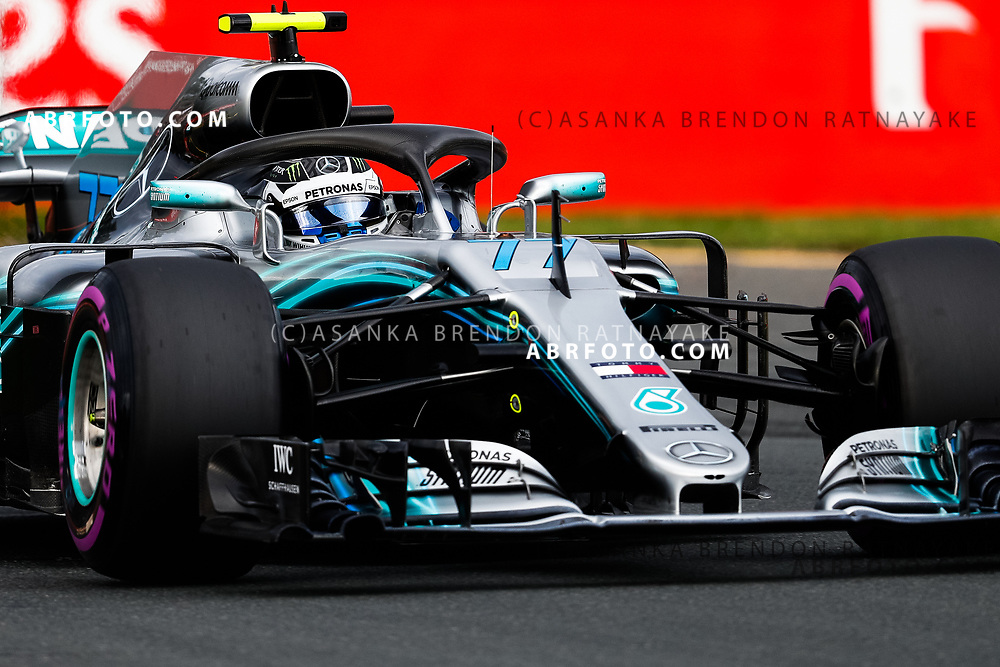 Mercedes driver Valtteri Bottas of Finland on Saturday during Qualifying for the 2018 Rolex Formula 1 Australian Grand Prix at Albert Park, Melbourne, Australia, March 24, 2018.  Asanka Brendon Ratnayake