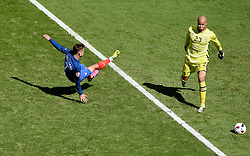 Antoine Griezmann of France fires wide  - Mandatory by-line: Joe Meredith/JMP - 26/06/2016 - FOOTBALL - Stade de Lyon - Lyon, France - France v Republic of Ireland - UEFA European Championship Round of 16