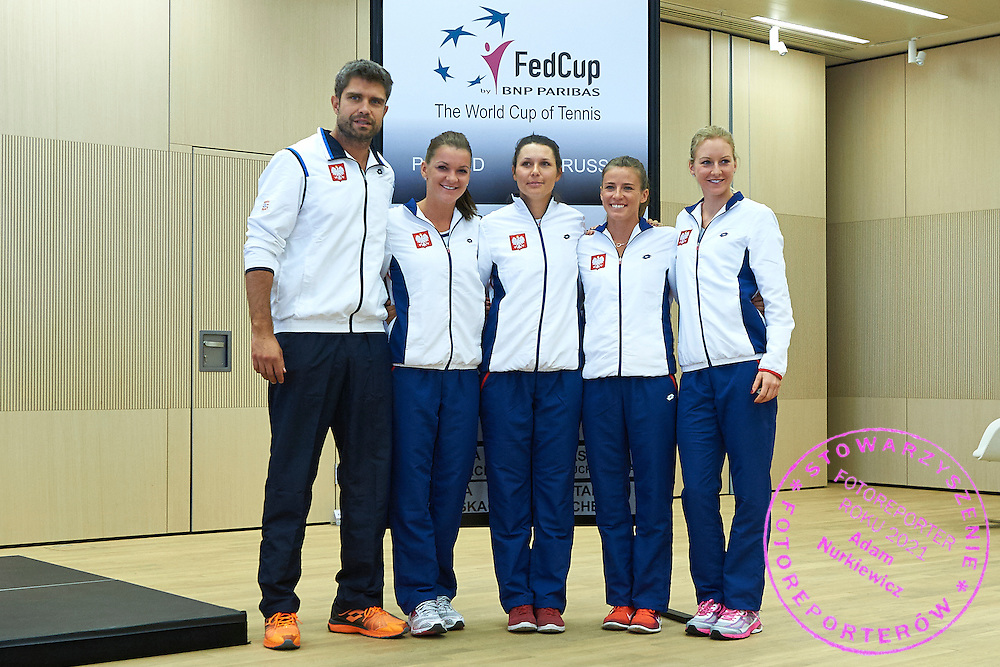 (L-R) Trainer coach Tomasz Wiktorowski and Alicja Rosolska and Agnieszka Radwanska and Klaudia Jans Ignacik and Urszula Radwanska all from Poland during official draw one day before the Fed Cup / World Group 1st round tennis match between Poland and Russia at Holiday Inn on February 6, 2015 in Cracow, Poland.<br /> <br /> Poland, Cracow, February 6, 2015<br /> <br /> Picture also available in RAW (NEF) or TIFF format on special request.<br /> <br /> For editorial use only. Any commercial or promotional use requires permission.<br /> <br /> Adam Nurkiewicz declares that he has no rights to the image of people at the photographs of his authorship.<br /> <br /> Mandatory credit:<br /> Photo by &copy; Adam Nurkiewicz / Mediasport
