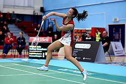 Emily Westwood of Bristol Jets in action during the women's doubles - Photo mandatory by-line: Robbie Stephenson/JMP - 06/02/2017 - BADMINTON - SGS Wise Arena - Bristol, England - Bristol Jets v Surrey Smashers - AJ Bell National Badminton League