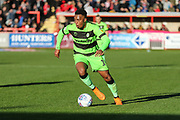 Forest Green Rovers Tahvon Campbell(14) runs forward during the EFL Sky Bet League 2 match between Exeter City and Forest Green Rovers at St James' Park, Exeter, England on 27 October 2018.