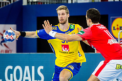 Viktor Ostlund (SWE) during handball match between National teams of Denmark and Sweden in Half Final match of Men's EHF EURO 2018, on January 26, 2018 in Arena Zagreb, Zagreb, Croatia. Photo by Ziga Zupan / Sportida