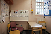 The prisoner induction cell on C wing, HMP Kingston, the cell where prisoners are interviewed and introduced to the prison. Portsmouth, United Kingdom. Kingston prison is a category C prison holding indeterminate sentenced prisoners.