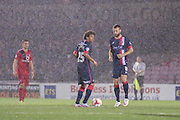 Doncaster Rovers  kick off in second half rain  during the Johnstone's Paint Trophy match between York City and Doncaster Rovers at Bootham Crescent, York, England on 6 October 2015. Photo by Simon Davies.
