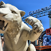 Tiger Sculpture at North Gate of Comerica Tiger Field in Detroit, Michigan<br />