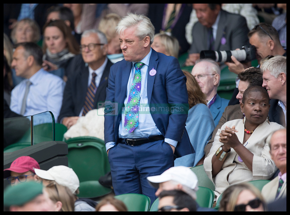 July 14, 2017 - London, London, United Kingdom - Image licensed to i-Images Picture Agency. 14/07/2017. London, United Kingdom. Speaker of the House of Commons John Bercow in the crowd  on Men's Semi-final day at the Wimbledon Tennis Championships in London.  Picture by Stephen Lock / i-Images (Credit Image: © Stephen Lock/i-Images via ZUMA Press)