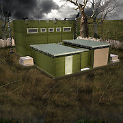 'Zombie-proof' log cabin includes escape hatch, 360-degree vantage point and weapons cabinet<br /> <br /> It's the dilemma that haunts every British homeowner: how safe are my children from a zombie apocalypse?<br /> <br /> A Leeds merchant has finally answered public concerns by making a undead-proof shed - which will set you back a mere £69,995, plus £20,780 for installation, CCTV, riot gear and solar panels.<br /> <br /> The so-called Zombie Fortification Cabin also has an escape hatch, an interior garden, weapons storage and a 360-degree vantage point, all with a ten-year anti-zombie guarantee. A flamethrower or water cannon, however, will cost you extra.<br /> <br /> Designed just in time for Halloween, the shed - ZFC1 for short - has not yet had any buyers, but that hasn't stopped it attracting a wide range of reviews on its manufacturer's website.<br /> <br /> One, Shaun of the Dead, called it the 'Winchester of Log Cabins' adding: 'In my time I've had little respect as an electronics shop employee, with no real direction in life. But when I bought this Zombie proof log cabin I became the envy of all my neighbours!<br /> <br /> 'It's big enough for me as well as my girlfriend and rather vulgar unemployed best friend (who could quite easily be mistaken for a zombie!). With this, any potential zombie apocalypse which could overwhelm the town, I'll have a nice cup of tea and wait for it all to blow over.'<br /> <br /> Not everyone was happy, however. A disgruntled Roger Rotter the Zombie wrote: 'I officially HATE this zombie proof log cabin!!<br /> <br /> 'Having roamed our way through the land mines, in just about one piece, a cluster of us avoided the flamethrowers and made it to the walls. No matter what we tried (eating through the walls, climbing to the roof etc) we just couldn't break in.<br /> <br /> 'Unfortunately, as time wore on it became obvious this was a lost cause and some 28 days later we gave up.' <br /> <br /> The bizarre idea was dreamed up by Leeds firm Tiger Log Cabins, and although there haven't yet been any sales, there have been some allegedly serious