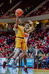 NORMAL, IL - February 05: Daniel Sackey beats Malik Yarbrough to the lane during a college basketball game between the ISU Redbirds and the Valparaiso Crusaders on February 05 2019 at Redbird Arena in Normal, IL. (Photo by Alan Look)