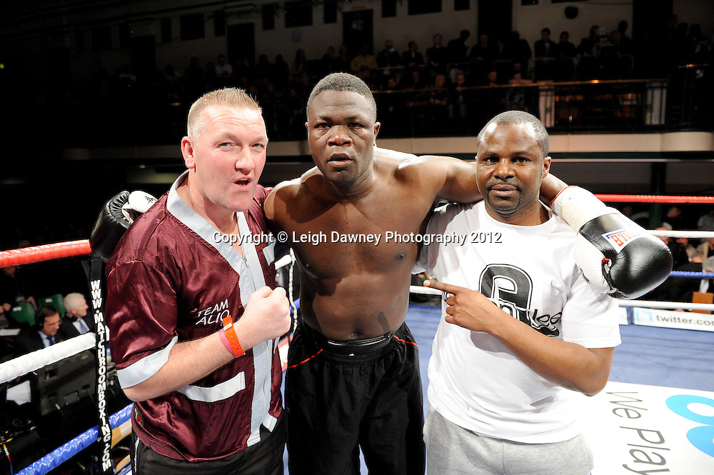 Wadi Camacho defeats  Moses Matovu (pictured with team) in a 4x3min Cruiserweight contest at York Hall, Bethnal Green, London on 28th January 2012.Matchroom Sport. © Leigh Dawney Photography 2012.