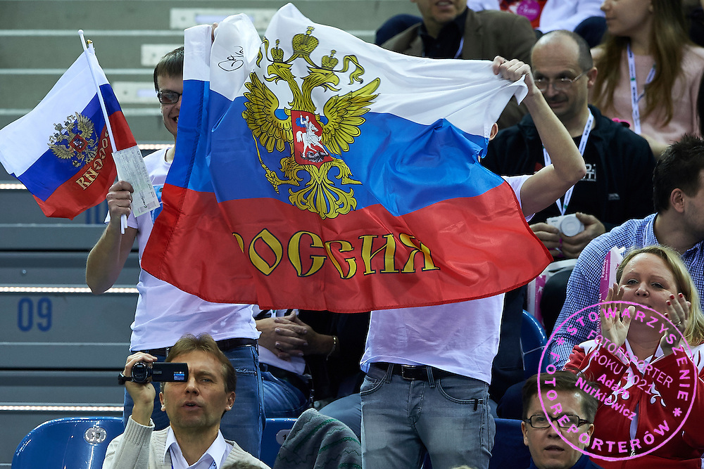 Supporters from Russia during Second Day of the Fed Cup / World Group 1st round tennis match between Poland and Russia at Tauron Krakow Arena on February 8, 2015 in Cracow, Poland.<br /> <br /> Poland, Cracow, February 8, 2015<br /> <br /> Picture also available in RAW (NEF) or TIFF format on special request.<br /> <br /> For editorial use only. Any commercial or promotional use requires permission.<br /> <br /> Adam Nurkiewicz declares that he has no rights to the image of people at the photographs of his authorship.<br /> <br /> Mandatory credit:<br /> Photo by &copy; Adam Nurkiewicz / Mediasport