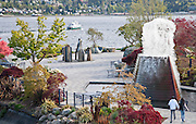 One of three fountains is displaying in Bremerton, Washinton's Harborside Fountain Park.