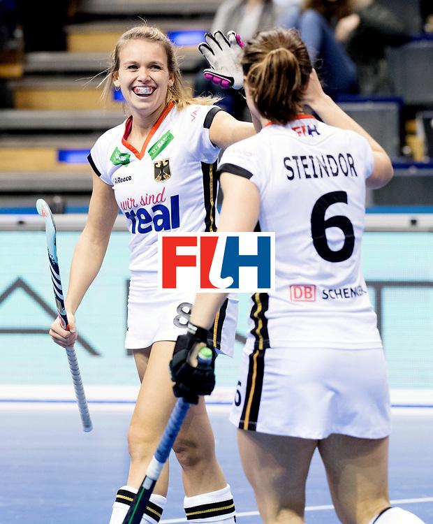 BERLIN - Indoor Hockey World Cup<br /> Women: Ukraine - Germany<br /> foto: Anne Schroeder celebrates.<br /> WORLDSPORTPICS COPYRIGHT FRANK UIJLENBROEK
