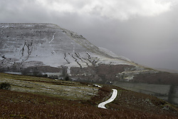 © Licensed to London News Pictures. 29/09/2020. Hay-on-Wye, Powys, Wales, UK. The landscape suddenly gets covered in snow by a sudden blizzard from Storm Jorge at Hay Bluff in the Brecon Beacons National Park, in Powys, Wales, UK. Photo credit: Graham M. Lawrence/LNP