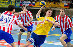 Sebastian Skube of Cimos Koper during 1st Leg handball match between RK Cimos Koper and BM Atletico Madrid (ESP) in Quarterfinals of EHF Champions League 2011/2012, on April 21, 2012 in Arena Bonifika, Koper, Slovenia. (Photo by Vid Ponikvar / Sportida.com)
