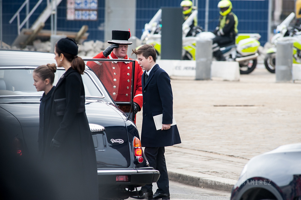 20.02.2018. Copenhagen, Denmark. <br /> Prince Christian, Crown Princess Mary and Princess Isabella leaves  the Christiansborg Palace Church after the funeral service.<br /> Photo: Ricardo Ramirez.