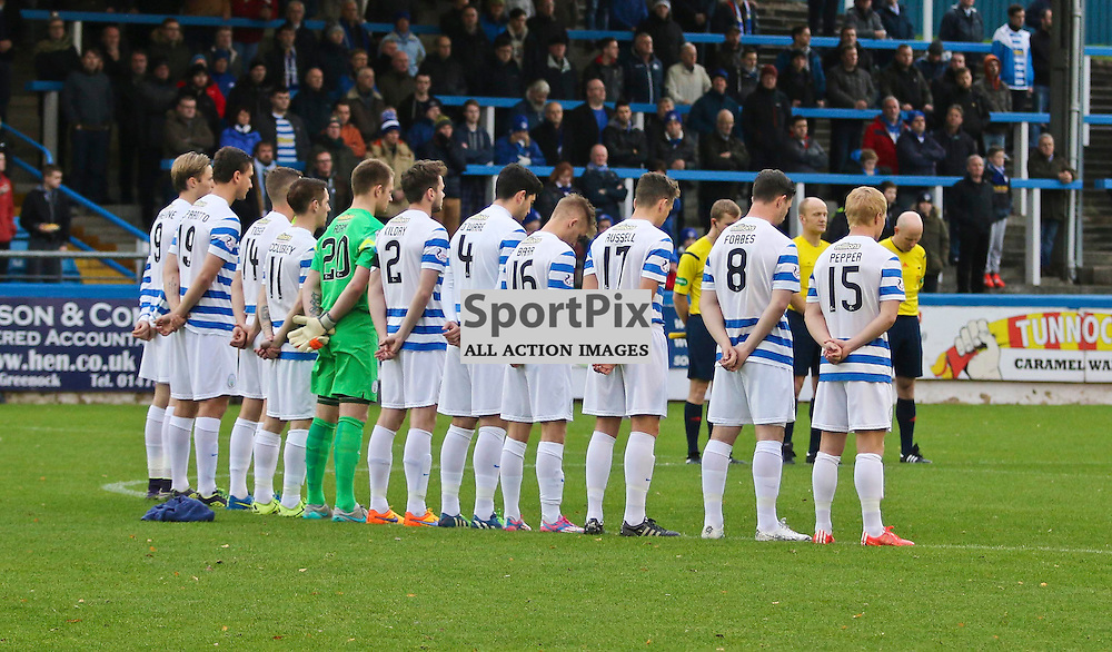 Morton team doing minutes silence during the Morton v Queen of the South Scottish Championship 14  November 2015 <br /> <br /> (c) Andy Scott | SportPix.org.uk