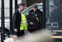 © Licensed to London News Pictures. 08/05/2019. London, UK. Conservative MP and Brexiteer JACOB REES-MOGG is seen arriving at the Houses of Parliament in Westminster ahead of PMQs. Talks between Number 10 and Labour party officials continue in an attempt to reach an agreement on a withdrawal agreement from the EU. Photo credit: Ben Cawthra/LNP