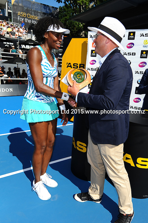 Venus Williams of the USA after her Singles Finals match against Danish player Caroline Wozniacki at the ASB Classic Women's International. ASB Tennis Centre, Auckland, New Zealand. Saturday 10 January 2015. Copyright photo: Chris Symes/www.photosport.co.nz