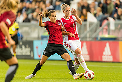 (L-R) Lucie Martínková of AC Sparta Praha women, Kelly Zeeman of Ajax women during the UEFA Women's Champions League match between Ajax Amsterdam and Sparta Praag at Sportpark De Toekomst on September 12, 2018 in Amsterdam, The Netherlands