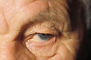 close up of senior man?s eye