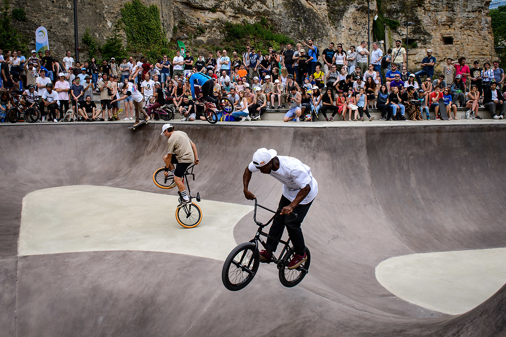 Danny Leon, Viki Gomez, Senad Grosic and Courage Adams ( left to right)  perform during Red Bull 3en1 at Skatepark Péitruss, Luxembourg, Luxembourg, June 3, 2017.