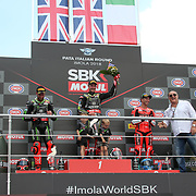 Imola 12/05/2018, Autodromo Enzo e Dino Ferrari<br /> Campionato mondiale Superbike 2018<br /> il podio di Gara 1 da sinistra Tom Sykes ( Kawasaki Racing Team ) , Jonathan Rea ( Kawasaki Racing Team ) e Marco Melandri ( Ducati Aruba.it Racing )