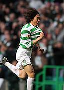 Shunsuke Nakamura of Celtic celebrates after scoring to make it 1-0
