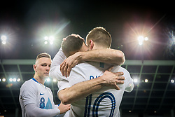 Valter Birsa of Slovenia hugging Bostjan Cesar of Slovenia after he played his last 5 min minutes in a National team during friendly football match between National teams of Slovenia and Belarus, on March 27, 2018 in SRC Stozice, Ljubljana, Slovenia. Photo by Vid Ponikvar / Sportida