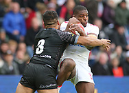 Jermaine McGillvary (R) of England  tackled by Esan Marsters  (L) of New Zealand during the Autumn International Series match at the KCOM Stadium, Hull<br /> Picture by Stephen Gaunt/Focus Images Ltd +447904 833202<br /> 27/10/2018