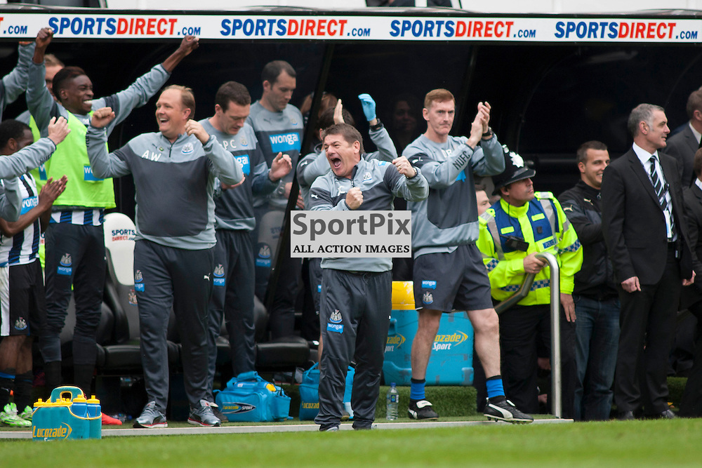 John Carver, Newcastle head coach at the end of the match in the Newcastle v West Ham, Barclays Premiership match at St James&rsquo; Park, Newcastle 24 May 2014<br />