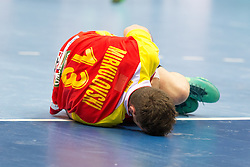 09.04.2016, Ergo Arena, Gdansk, POL, IHF Herren, Olympia Qualifikation, Mazedonien vs Tunesien, im Bild Filip Mirkulovski // during the IHF men's Olympic Games handball qualifier between Macedonia and Tunisia at the Ergo Arena in Gdansk, Poland on 2016/04/09. EXPA Pictures © 2016, PhotoCredit: EXPA/ Newspix/ Tomasz Zasinski<br /> <br /> *****ATTENTION - for AUT, SLO, CRO, SRB, BIH, MAZ, TUR, SUI, SWE only*****