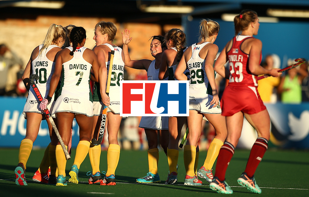 JOHANNESBURG, SOUTH AFRICA - JULY 16:  Candice Manuel of South Africa(C) celebrates scoring her first goal with team mates during day 5 of the FIH Hockey World League Women's Semi Finals Pool B match between South Africa and United States of America at Wits University on July 16, 2017 in Johannesburg, South Africa.  (Photo by Jan Kruger/Getty Images for FIH)