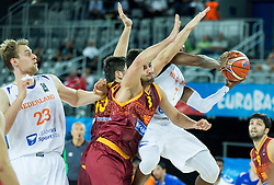 06-09-2015 CRO: FIBA Europe Eurobasket 2015 Nederland - Macedonie, Zagreb<br /> Vojdan Stojanovski of Macedonia vs Charlon Kloof of Netherlands during basketball match between Netherlands and Macedonia at Day 2 in Group C of FIBA Europe Eurobasket 2015, on September 6, 2015, in Arena Zagreb, Croatia. Photo by Vid Ponikvar / RHF