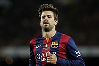 Barcelona´s Pique during 2014-15 Copa del Rey final match between Barcelona and Athletic de Bilbao at Camp Nou stadium in Barcelona, Spain. May 30, 2015. (ALTERPHOTOS/Victor Blanco)