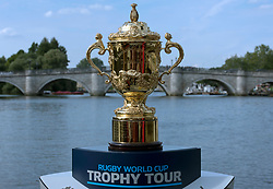 The Webb Ellis Cup on a London Fire Boat during a trip along the River Thames as part of the 100 day Rugby World Cup Trophy Tour of the UK & Ireland.