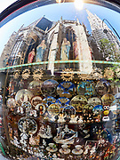 Vienna, Austria. Vienna seen through a fisheye lens. Stephansdom (St. Stephen's dome) mirrored in a souvenir shop.