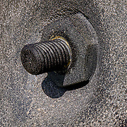 Close up of a large screw and bolt