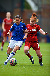 BIRKENHEAD, ENGLAND - Sunday, April 29, 2018: Everton's Courtney Sweetman-Kirk (left) and Liverpool's Martha Harris during the FA Women's Super League 1 match between Liverpool FC Ladies and Everton FC Ladies at Prenton Park. (Pic by David Rawcliffe/Propaganda)