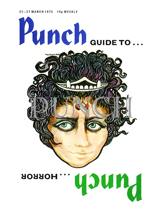 Punch front cover, 21st March 1973. Punch Guide To Horror.
