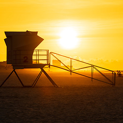 Pensacola Beach Florida lifeguard tower two sunrise photo on Casino Beach. Pensacola Beach is a coastal city on Santa Rosa Island in the Emerald Coast of the Southeastern United States of America. Photo is high resolution. Copyright ⓒ 2018 Paul Velgos with All Rights Reserved.