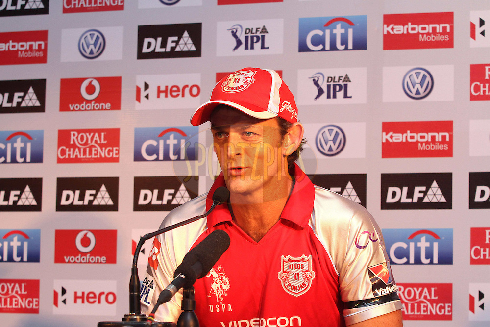 Adam Gilchrist of the Kings XI Punjab during post match press conference after match 33 of the the Indian Premier League (IPL) 2012  between The Kings X1 Punjab and The Mumbai Indians held at the Punjab Cricket Association Stadium, Mohali on the 25th April 2012..Photo by Shaun Roy/IPL/SPORTZPICS