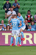 MELBOURNE, VIC - JANUARY 22: City celebrates as Melbourne City defender Ritchie de Laet (2) scores at the Hyundai A-League Round 15 soccer match between Melbourne City FC and Western Sydney Wanderers at AAMI Park in VIC, Australia 22 January 2019. Image by (Speed Media/Icon Sportswire)