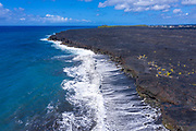 New lava flow, black sand beach, Kalapana, Kilauea Volcano, Big Island of Hawaii, Hawaii