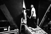 Lecrae prepares to take the stage for his encore on November 15, 2014 at House of Blues in Orlando, Florida