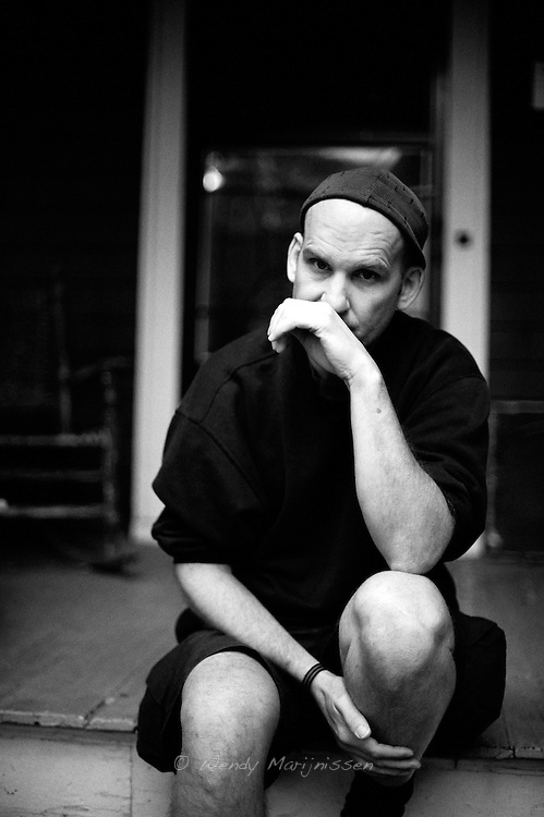 Ian MacKaye from Fugazi and The Evens outside Dischord house, Arlington Virginia, USA