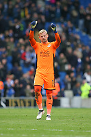 Football - 2017 / 2018 Premier League - Brighton and Hove Albion vs. Leicester City<br /> <br /> Kasper Schmeichel of Leicester City gives the thumbs up to the traveling fans at The Amex Stadium Brighton <br /> <br /> COLORSPORT/SHAUN BOGGUST