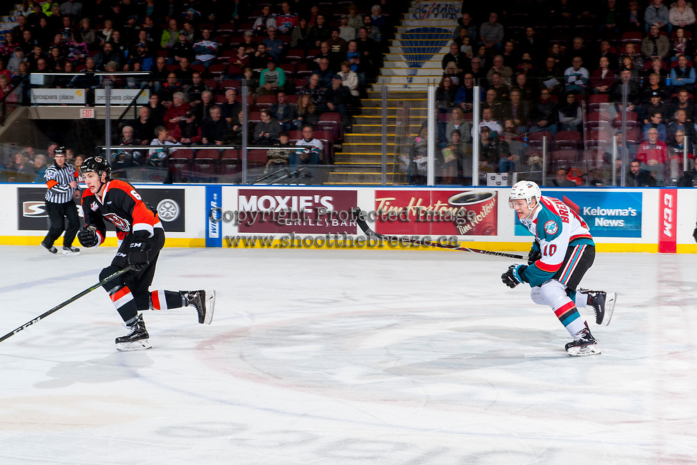 KELOWNA, CANADA - JANUARY 30: Ted Brennan #10 of the Kelowna Rockets skates over centre against the Medicine Hat Tigers on January 30, 2017 at Prospera Place in Kelowna, British Columbia, Canada.  (Photo by Marissa Baecker/Shoot the Breeze)  *** Local Caption ***