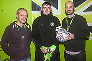 Matchball sponsor with man of the match Forest Green Rovers Liam Kitching(20) during the EFL Sky Bet League 2 match between Forest Green Rovers and Swindon Town at the New Lawn, Forest Green, United Kingdom on 21 December 2019.