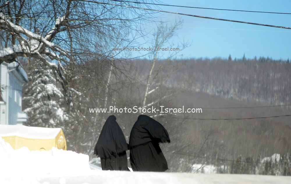 Woman of the Lev Tahor (Pure Heart) Orthodox Jewish community, Sainte Agathe des Monts, Quebec, Canada. These clothes are unique to this Jewish sect