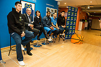 Vice President of Club Estudiantes Miguel Angel Panduro, General Manager of chinese club Tammy Zhao, Estudiantes's player Omar Cook, Estudiantes's coach Salva Maldonado and 2 chinese players during the international agreement between Club Movistar Estudiantes and Club Guangzhou Longlions in Madrid. November 17, Spain. 2016. (ALTERPHOTOS/BorjaB.Hojas)